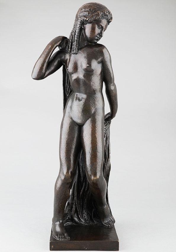 """Joseph Bernard (1866-1931), """"Nu au drapé"""", bronze à patine brun vert très nuancé, fonte Valsuani, haut. 63,5 cm, sculptures - galerie Tourbillon, Paris"""