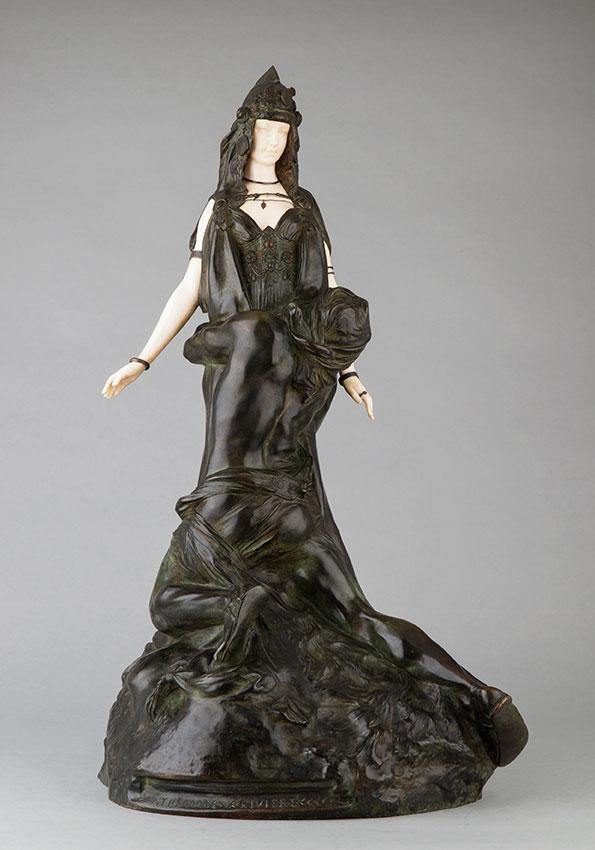 """Théodore Rivière (1857-1912), """"Salammbô chez Mathô"""", sculpture chryséléphantine, bronze à patine vert brun nuancé, ivoire, fonte Susse, haut. 62,5 cm, sculptures - galerie Tourbillon, Paris"""
