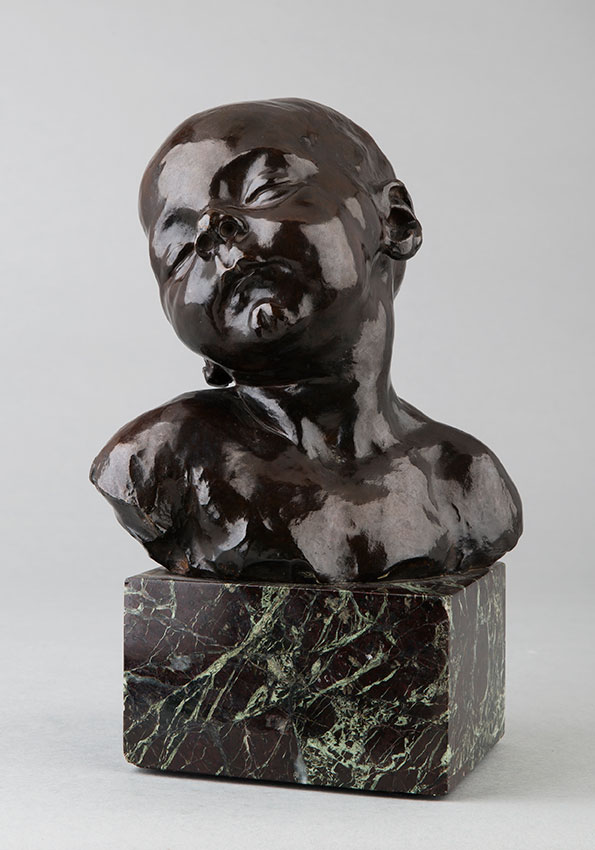 "Jules Dalou (1838-1902), ""Bébé endormi"", bronze à patine brune, fonte Hébrard, haut. totale 25,5 cm, sculptures - galerie Tourbillon, Paris"