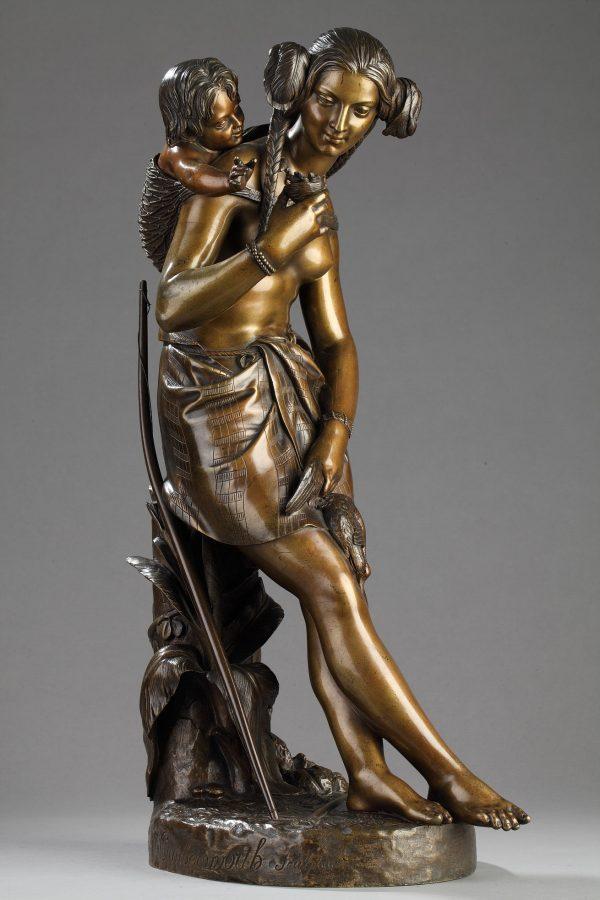 Charles Cumberworth (1811-1852), Chasseresse indienne, bronze à double patines, haut. 52 cm, sculptures - galerie Tourbillon, Paris