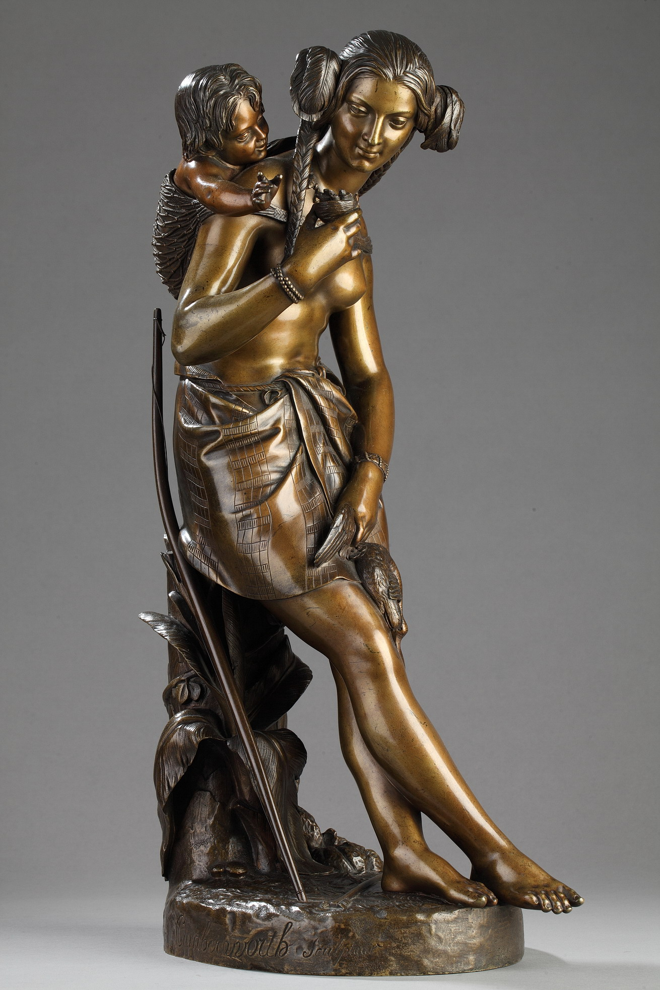 Charles Cumberworth (1811-1852), Chasseresse indienne, bronze à double patines, haut. 52 cm, sculptures - galerie Tourbillon, Paris