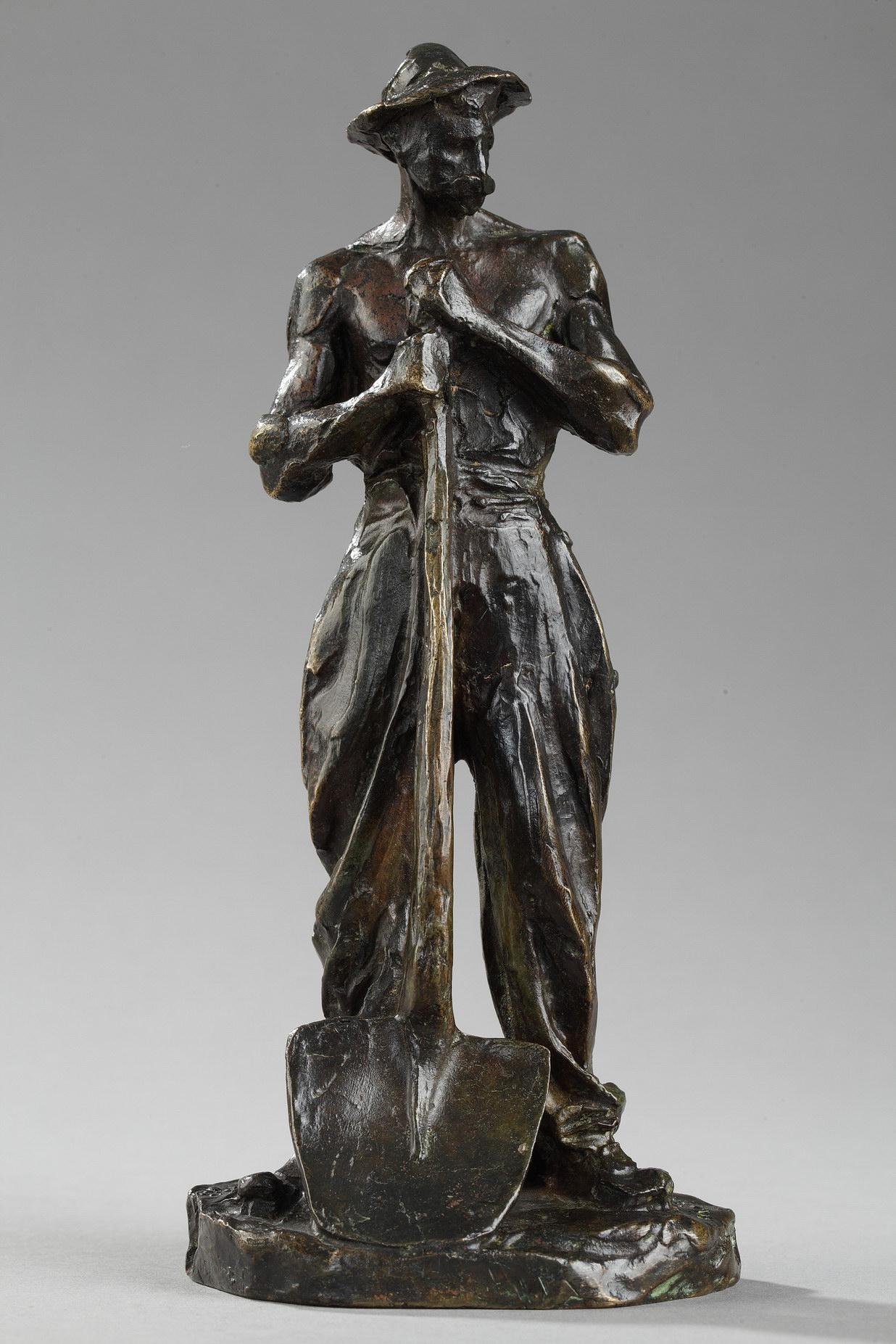 """Jules Dalou (1838-1902), """"Terrassier appuyé sur une pelle"""", bronze à patine marron très nuancé, fonte Susse, haut. 20 cm, sculptures - galerie Tourbillon, Paris"""