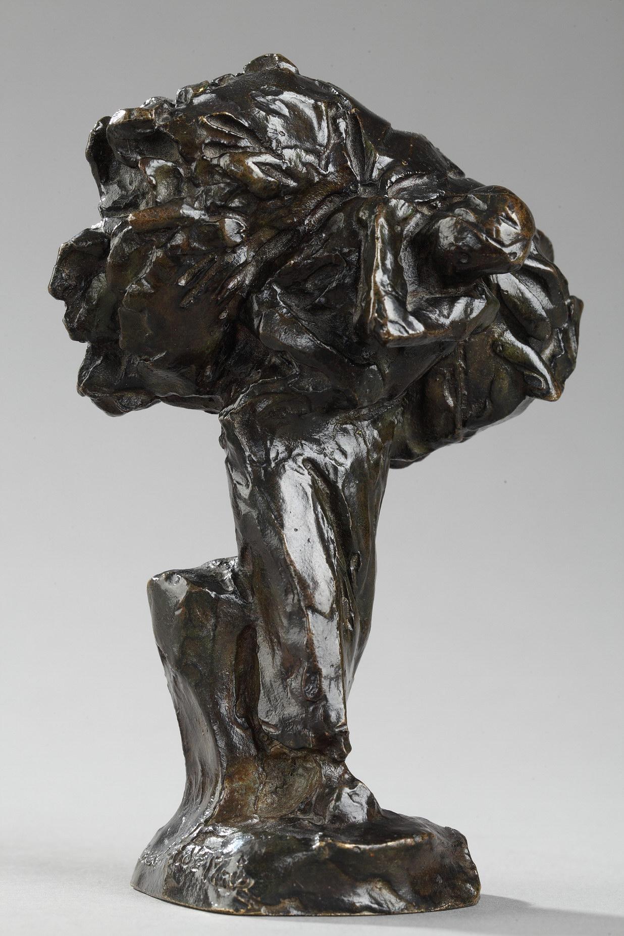 """Jules Dalou (1838-1902), """"Femme rapportant de l'herbe"""", bronze à patine brun très nuancé, fonte Susse, haut. 13 cm, sculptures - galerie Tourbillon, Paris"""