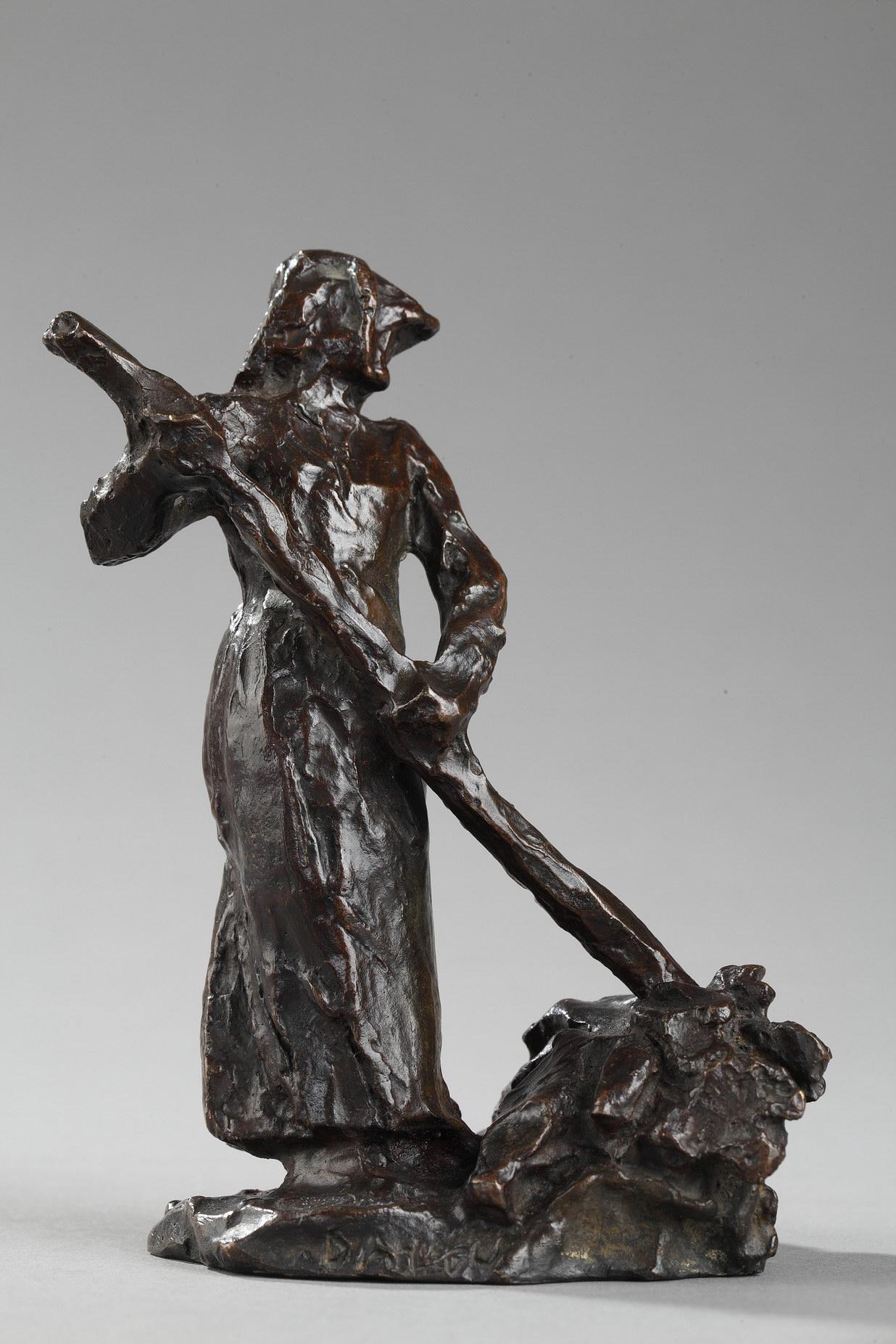 """Jules Dalou (1838-1902), """"Ramasseuse de foin"""", bronze à patine brun très nuancé, fonte Susse, haut. 12 cm, sculptures - galerie Tourbillon, Paris"""