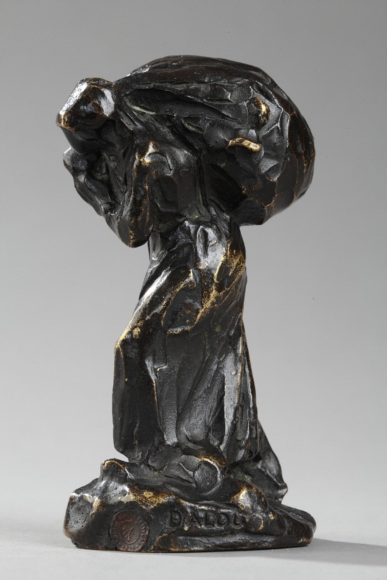 """Jules Dalou (1838-1902), """"Retour de l'herbe"""", bronze à patine brun très nuancé, fonte Susse, haut. 10 cm, sculptures - galerie Tourbillon, Paris"""