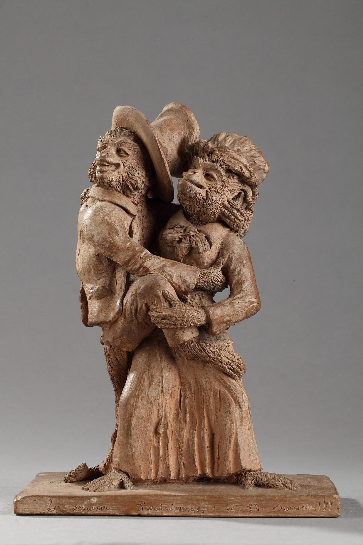 """P. Lucien, """"Les amours Parisiennes... et ta sœur !"""", terre cuite représentant deux signes, haut. 19 cm, sculptures - galerie Tourbillon, Paris"""