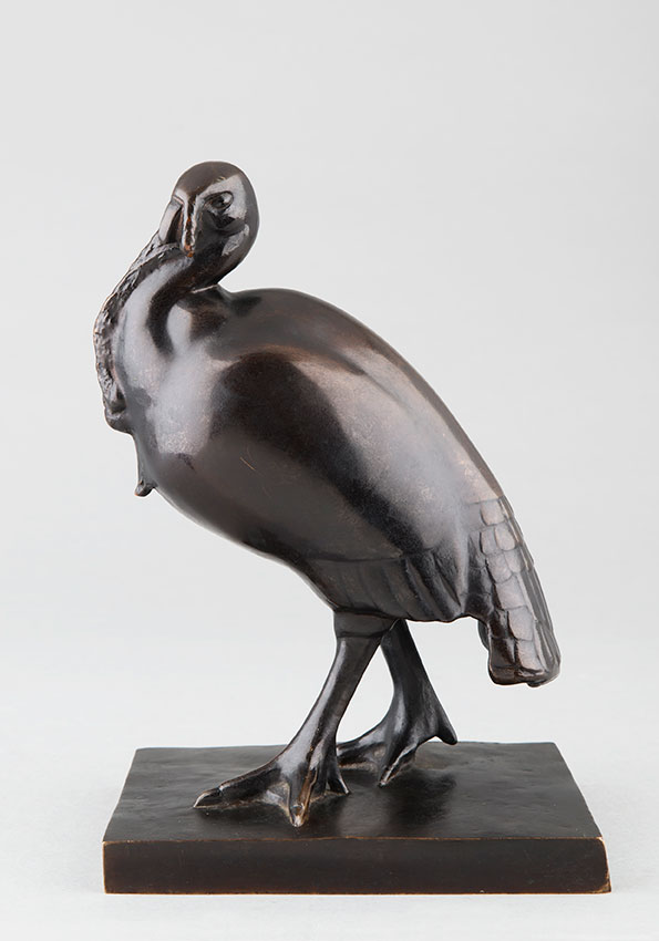 "Simone Boutarel (XXe), ""Dindon sauvage"", Bronze à patine brune, fonte CFA Paris, haut. 24,6 cm, sculptures - galerie Tourbillon, Paris"