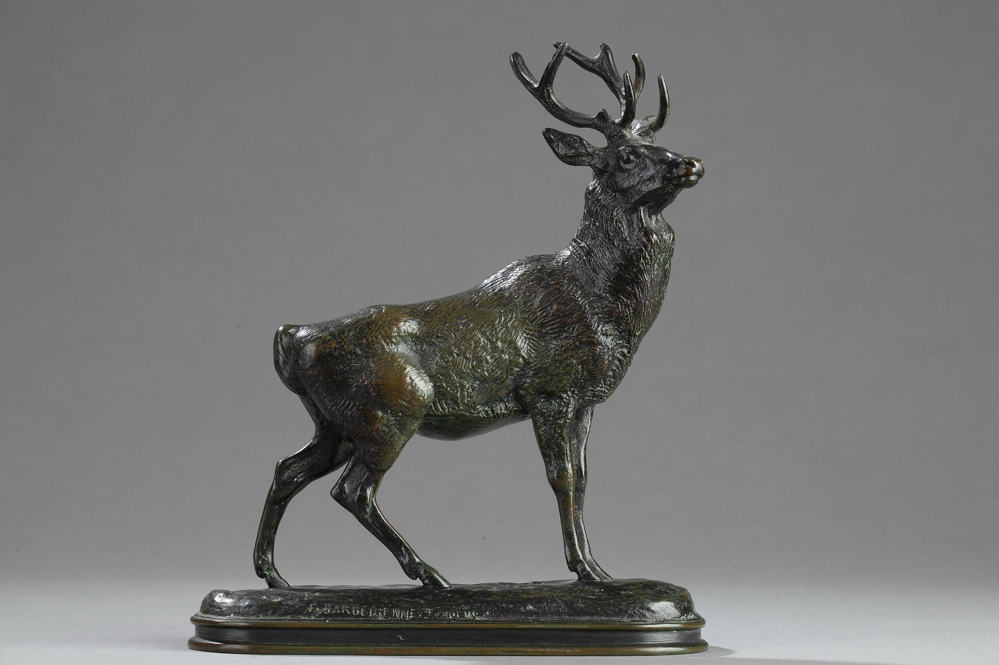 """Antoine-Louis Barye (1796-1875), """"Cerf qui écoute"""", bronze à patine vert nuancé, fonte Barbedienne, Cachet Or, haut. 19,5 cm"""