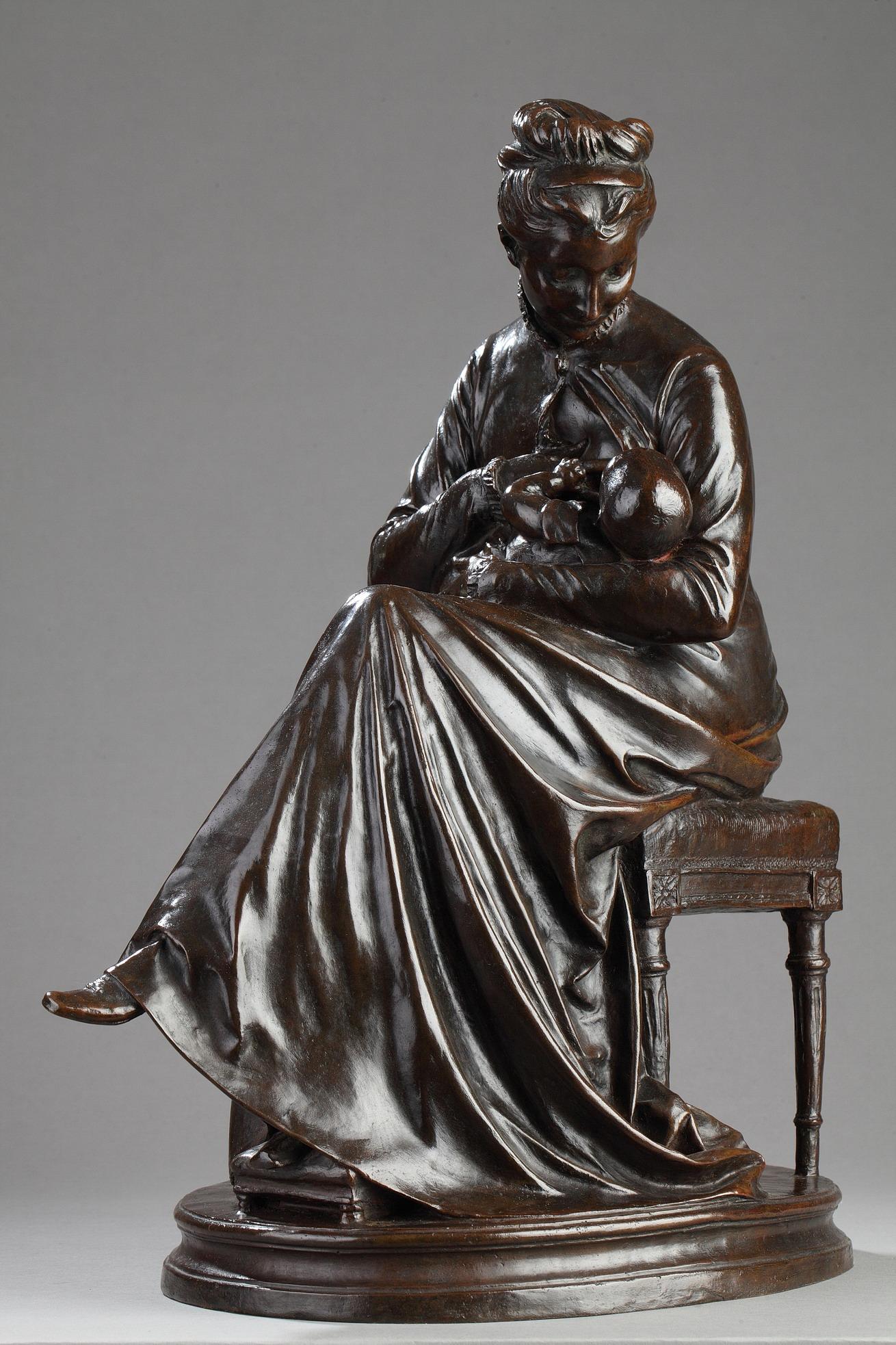 """Jules Dalou (1838-1902), """"Maternité"""" 1874, bronze à patine marron foncé nuancé, fonte Hébrard, haut. 45 cm, sculptures - galerie Tourbillon, Paris"""