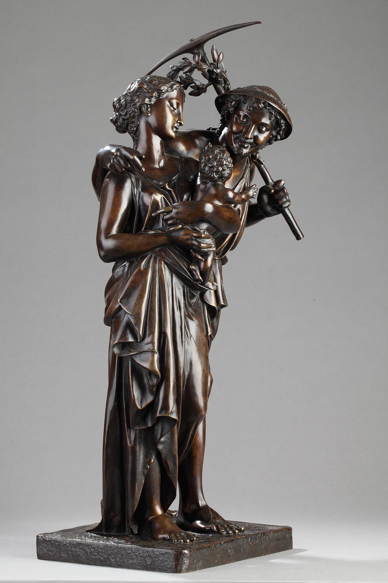 """Henry Etienne Dumaige (1830-1888), """"Famille de Jardiniers"""", Bronze à patine marron foncé nuancé, haut. 55,5 cm, sculptures - galerie Tourbillon, Paris"""