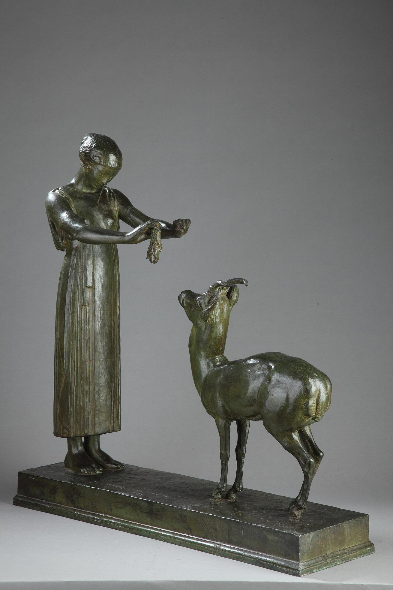 """Henri Bouchard (1875-1960), """"Femme et Gazelle"""" ou """"Fontaine de Bagatelle"""", bronze à patine vert nuancé, fonte Bisceglia, haut. 63 cm, sculptures - galerie Tourbillon, Paris"""
