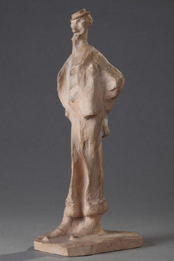 """Bernhard Hoetger (1874-1949), """"L'Homme au Monocle"""", terre cuite, Cacciapuoti éditeur, haut. 32 cm, sculptures - galerie Tourbillon, Paris"""