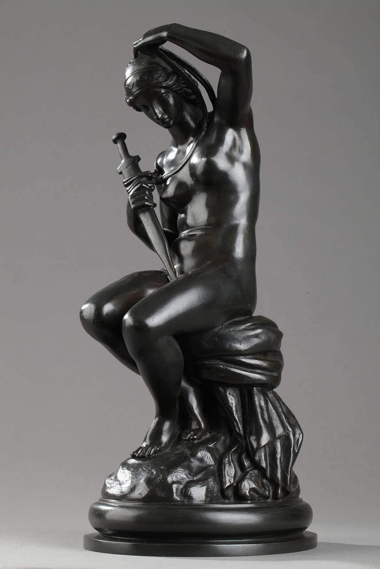 "Antoine-Louis Barye (1796-1875), ""Minerve"", bronze à patine brune, fonte Barbedienne, haut. 31 cm, sculptures - galerie Tourbillon, Paris"