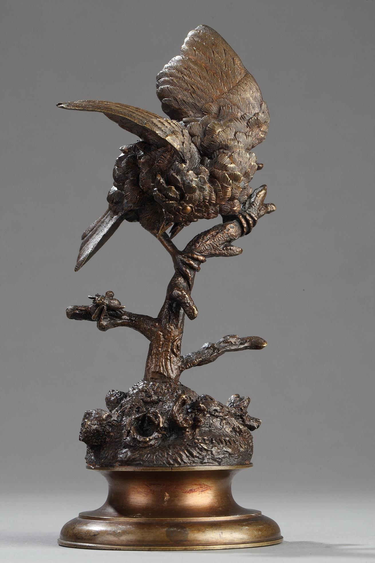 Ferdinand Pautrot (1832-1874), Oiseau sur une branche, bronze à patine mordoré nuancé, Tahan, haut. 18 cm. sculptures - galerie Tourbillon, Paris