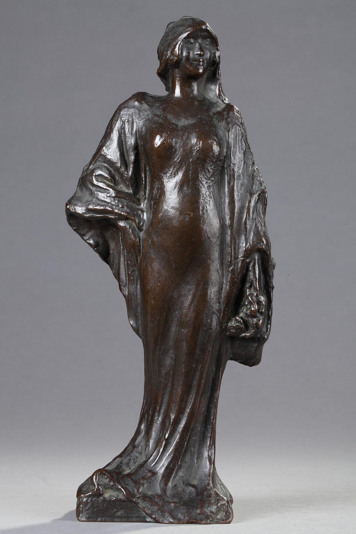 """Janet Scudder (1869-1940), """"La Mariée"""", bronze à patine marron foncé, fonte Rudier, Haut. 28 cm, sculptures - galerie Tourbillon, Paris"""