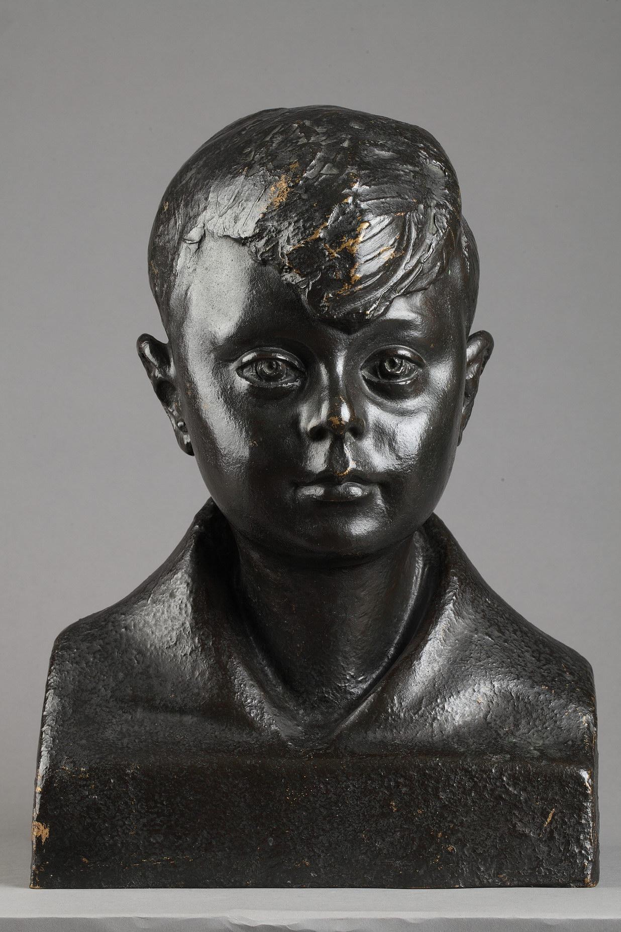 Pedro Meylan (1890-1954), Buste d'enfant, bronze à patine brun nuancé, fonte Hébrard, haut. 37 cm, sculptures - galerie Tourbillon, Paris