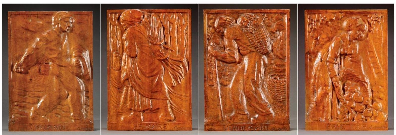"""Edouard Chassaing (1895-1974) pour Primavera, Suite de Quatre Panneaux, noyer sculpté, mois du calendrier républicain """"Vendemiaire"""",""""Brumaire"""", """"Frimaire"""" et """"Fructidor"""", haut. 59,5 cm, sculptures - galerie Tourbillon, Paris"""