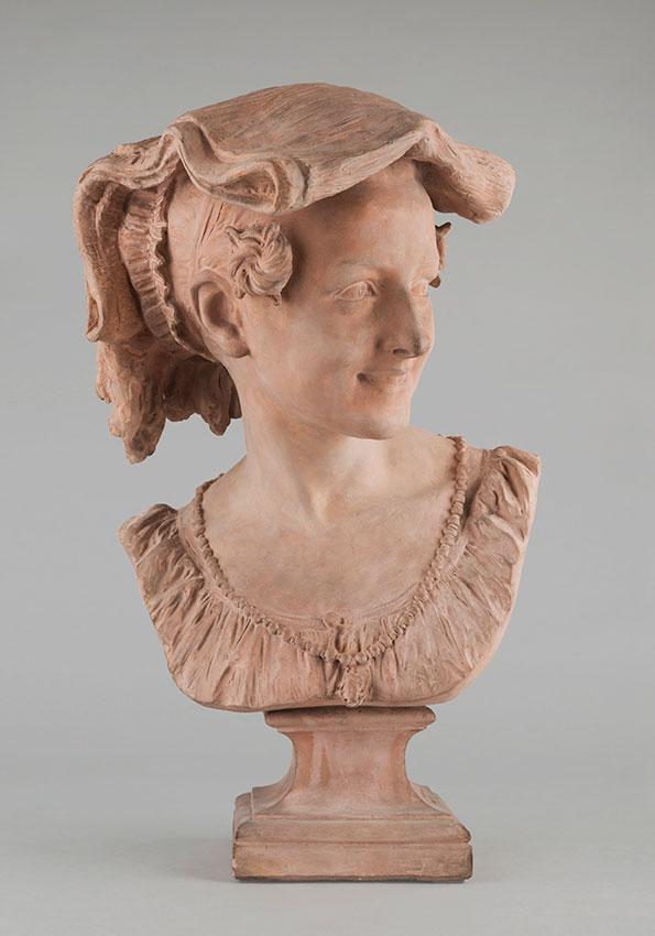 """Jean-Baptiste Carpeaux (1827-1875), """"Rieuse Napolitaine"""", terre cuite, Propriété Carpeaux, 1872, haut. 49,5 cm, sculptures - galerie Tourbillon, Paris"""