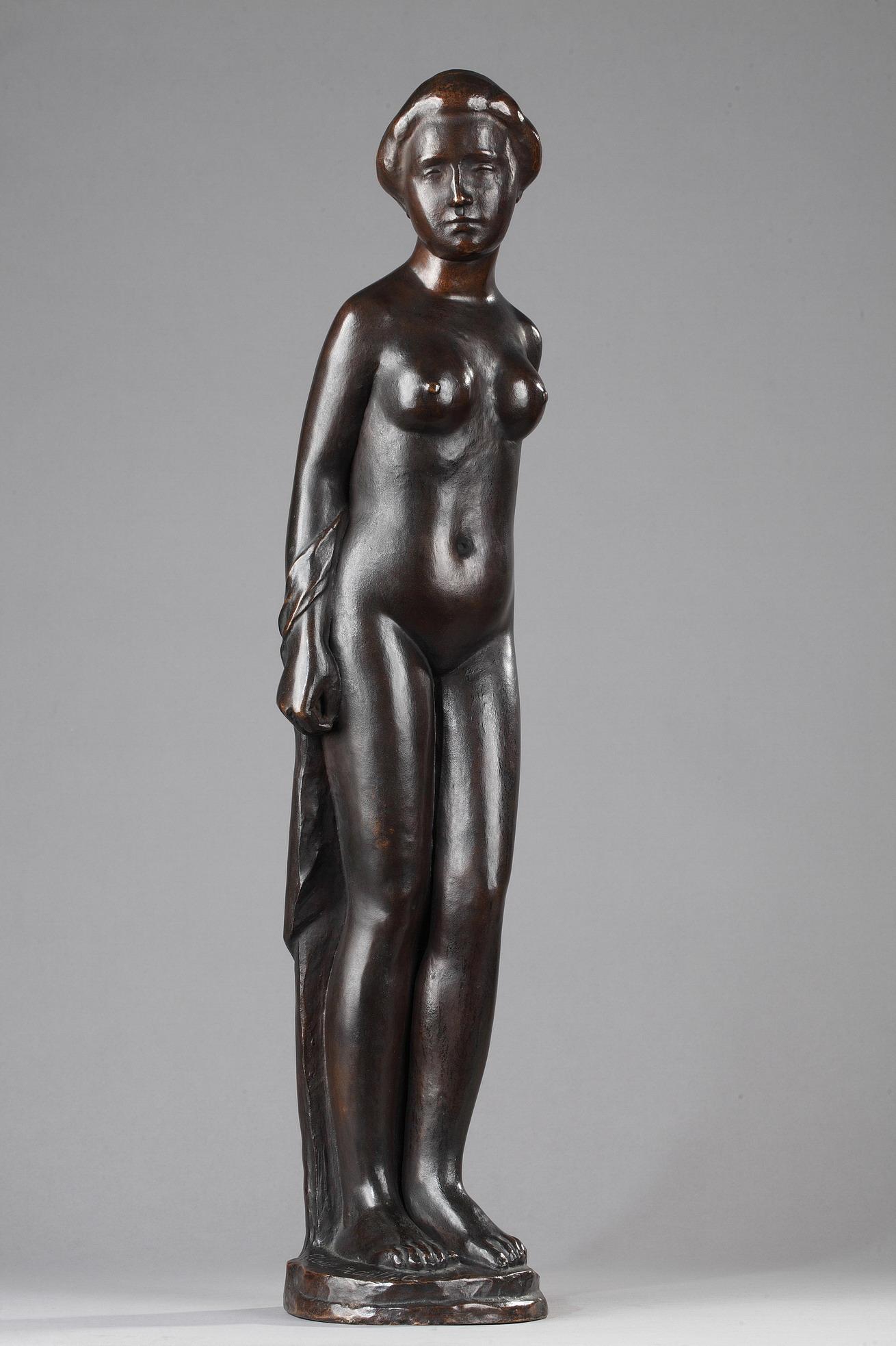 """Aristide Maillol (1861-1944), """"Femme au Chignon"""" dite aussi """"Baigneuse Debout"""", bronze à patine brune richement nuancée, édité par Ambroise Vollard, haut. 63 cm, sculptures - galerie Tourbillon, Paris"""