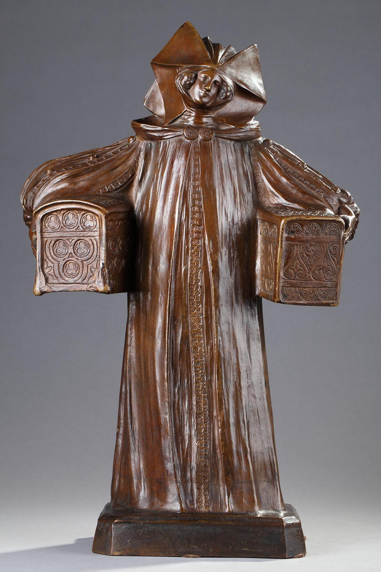 """Léo Laporte-Blairsy (1865-1923), """"Femme aux Coffrets"""", bronze à patine marron clair nuancé, fonte ancienne, haut. 46,5 cm, sculptures - galerie Tourbillon, Paris"""