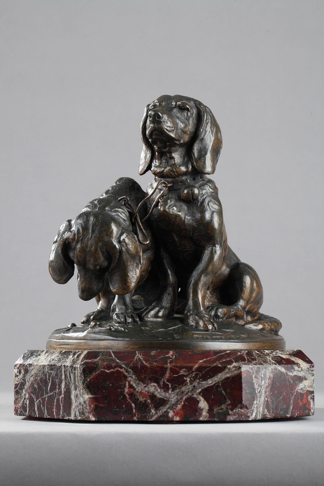 """Emmanuel Frémiet (1824-1910), """"Ravageot et Ravageode"""" avec maillons, bronze à patine brun très nuancé, fonte More, haut. 18,5 cm, sculptures - galerie Tourbillon, Paris"""