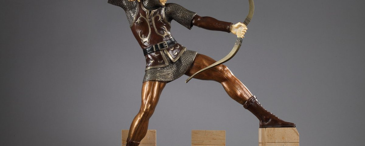 "Pierre Le Faguays (1892-1962), ""Archer Médiéval"", sculpture chryséléphantine, socle marbre, haut. totale 65 cm. sculptures - galerie Tourbillon, Paris"