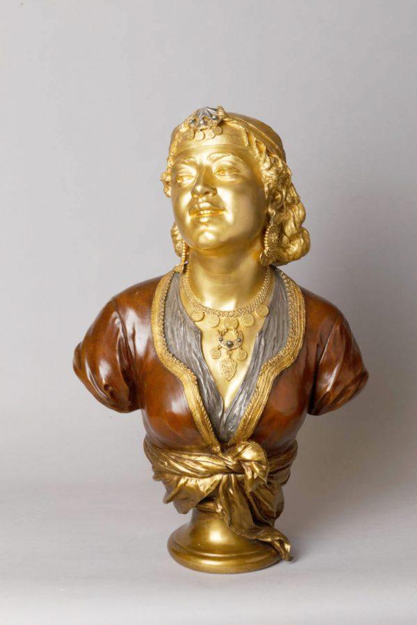 Emile Guillemin (1841-1907), Buste de Femme Orientale, bronze Orientaliste à triple patines, haut. 63 cm, sculptures - galerie Tourbillon, Paris