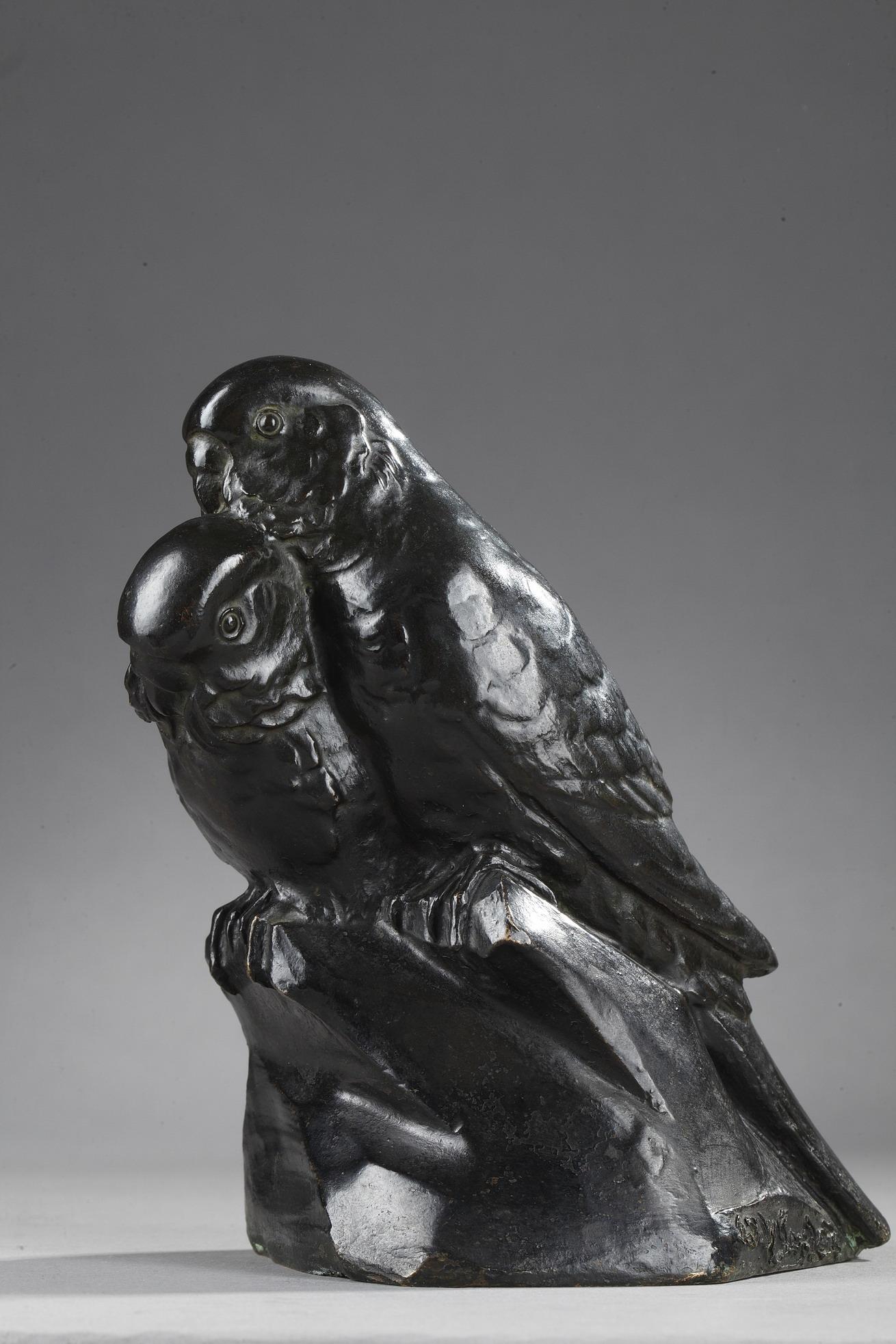 """Edouard-Marcel Sandoz (1881-1971), """"Deux Perruches"""", bronze à patine brun foncé nuancé, fonte Valsuani, Haut. 15 cm, sculptures - galerie Tourbillon, Paris"""