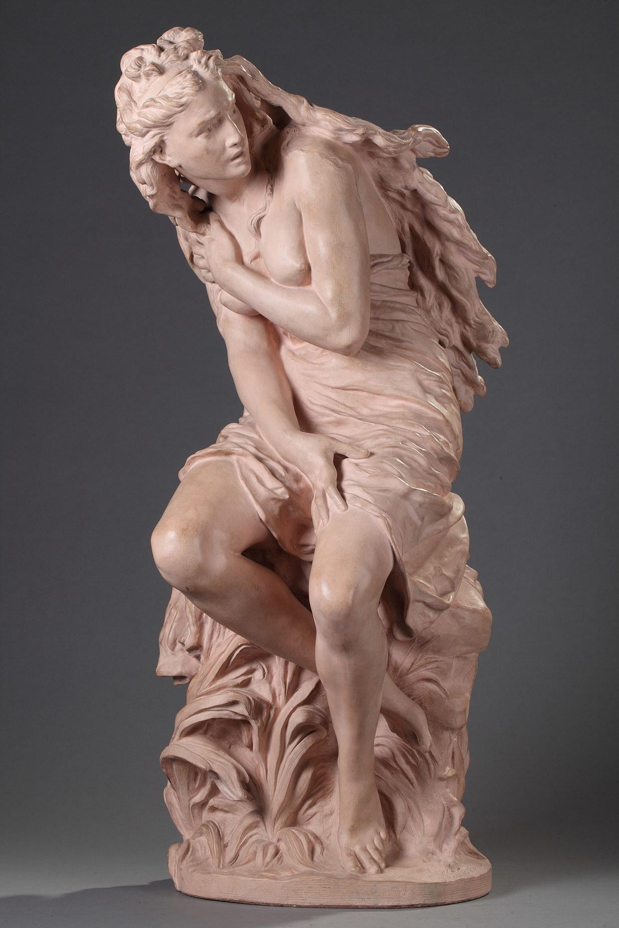 """Jean-Baptiste Carpeaux (1827-1875), """"Suzanne surprise"""", terre cuite, Propriété Carpeaux, haut. 64 cm, sculptures - galerie Tourbillon, Paris"""