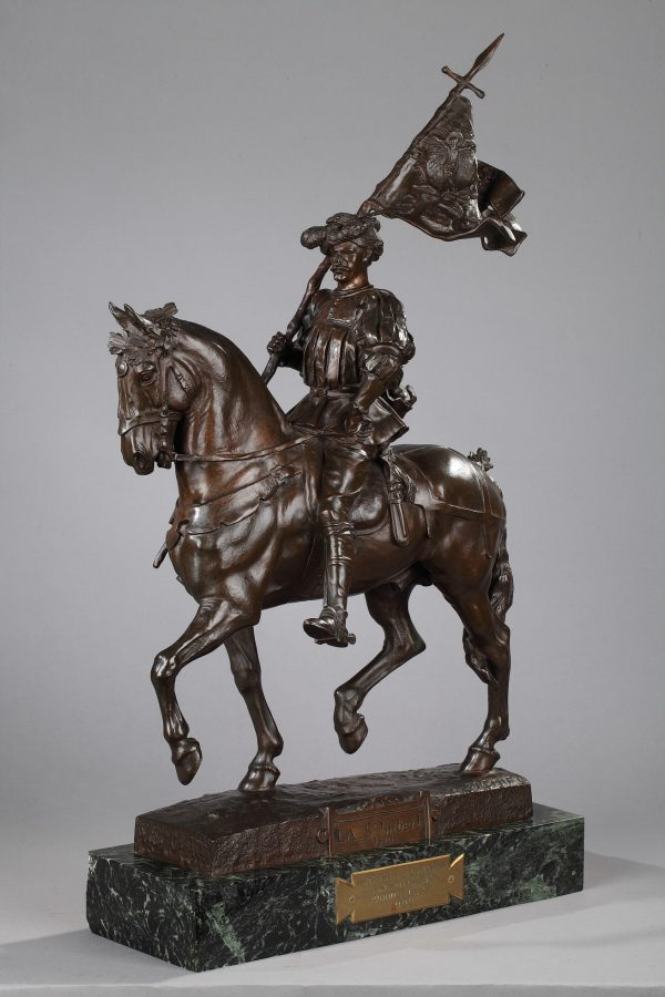 "Emmanuel Frémiet (1824-1910), ""La Saint Hubert, 1520"", bronze à patine brune, socle en marbre vert, fonte More, haut. totale 67 cm, sculptures - galerie Tourbillon, Paris"