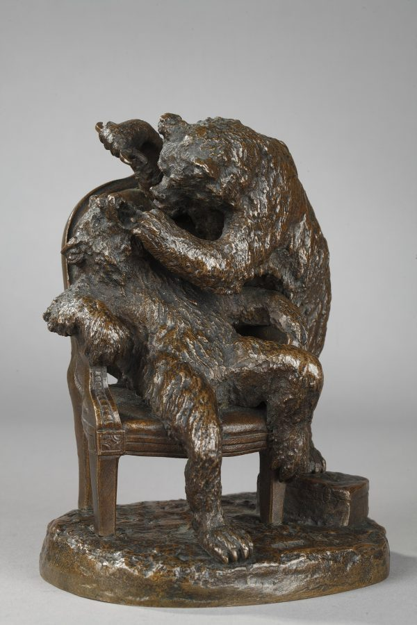 "Christophe Fratin (1801-1864), ""Ours dentiste"", bronze à patine brun nuancé, fonte ancienne, haut. 15 cm, sculptures - galerie Tourbillon, Paris"