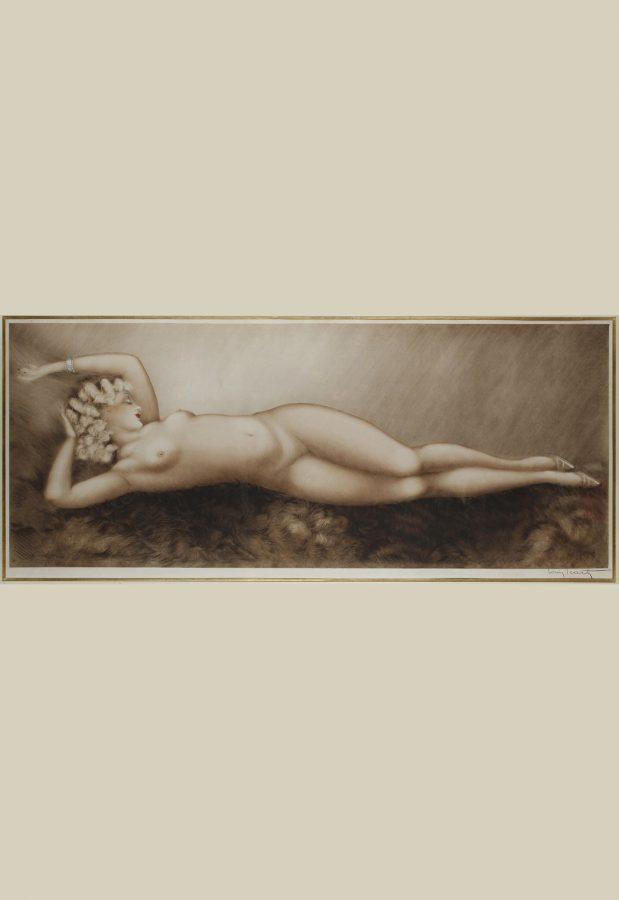 """Louis Icart (1888-1950), """"Sommeil"""", lithographie originale, dimensions encadrée 142x75 cm, galerie Tourbillon, Paris"""