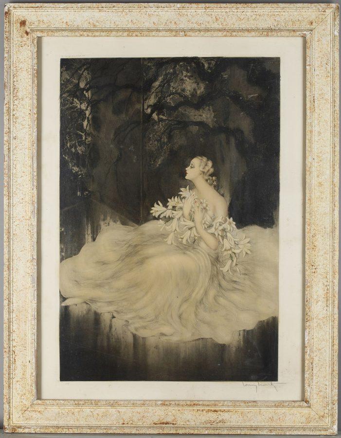 """Louis Icart (1888-1950), """"La Dame aux Lys"""", lithographie originale, dimensions encadrée 93x72 cm, galerie Tourbillon, Paris"""