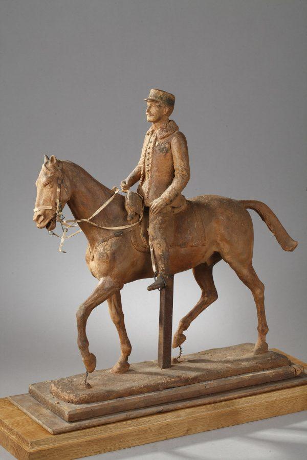Anonyme XXe s., Cavalier, Général Français, cire originale, haut. 47 cm, sculptures - galerie Tourbillon, Paris