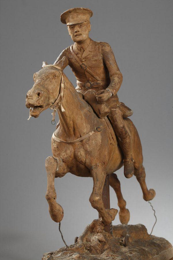 Anonyme XXe s., Cavalier Anglais, cire originale, haut. 42 cm, sculptures - galerie Tourbillon, Paris
