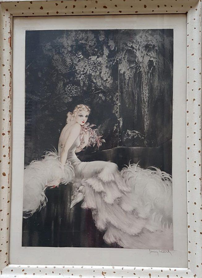 """Louis Icart (1888-1950), """"Orchidées"""", lithographie originale, dimensions encadrée 88x64 cm, galerie Tourbillon, Paris"""