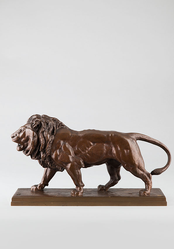 "Antoine-Louis Barye (1796-1875), ""Lion marchant"", bronze à patine marron clair, fonte Barbedienne, Cachet Or, long. terrasse 39,2 cm, sculptures - galerie Tourbillon, Paris"