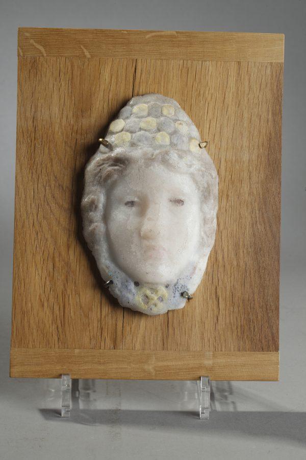 Henry Cros (1840-1907), Rare Masque antique de Femme, Pâte de verre, Haut. 16 cm, sculptures - galerie Tourbillon, Paris