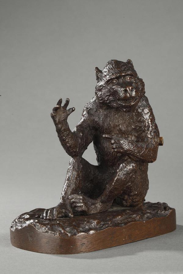 """Christophe Fratin (1801-1864), """"Singe"""", bronze à patine brun nuancé, fonte ancienne, haut. 14 cm, sculptures - galerie Tourbillon, Paris"""