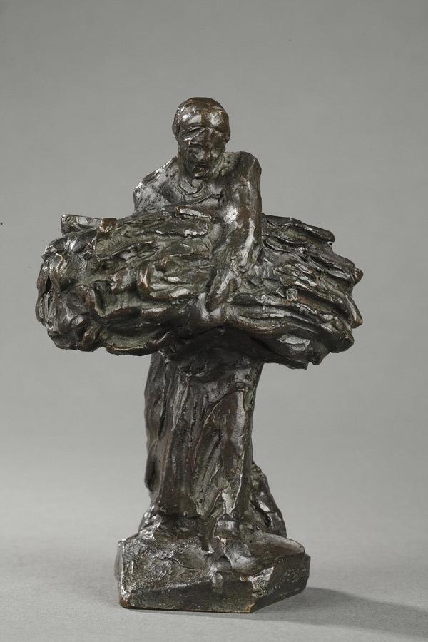 """Jules Dalou (1838-1902), """"Porteuse de gerbes"""", bronze à patine brun foncé, fonte Susse, haut. 12,3 cm, sculptures - galerie Tourbillon, Paris"""