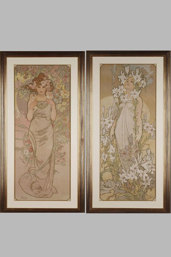 """Alphonse Mucha (1860-1939), """"Les Fleurs"""", lithographies originales, dimensions de chaque cadre 123x63 cm, galerie Tourbillon, Paris"""