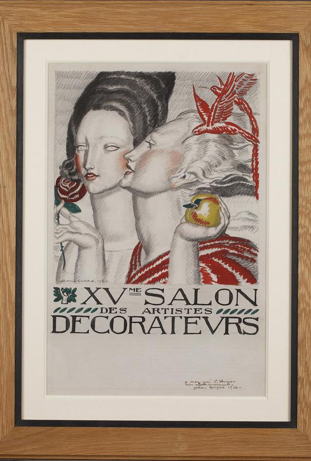 """Jean Dupas (1882-1964), """"XVe Salon des Artistes Décorateurs"""", dessin original de l'affiche du salon, dimensions du cadre 64x48 cm, galerie Tourbillon, Paris"""