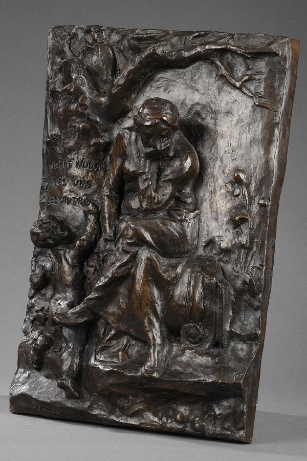 """Jules Dalou (1838-1902), """"Aimons-nous les uns les autres"""", bronze à patine brun foncé, fonte ancienne, haut. 35 cm, sculptures - galerie Tourbillon, Paris"""