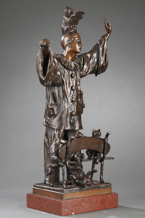 "Ernest Wante (1872-1960), ""La Leçon de Chant"", bronze à patine marron foncé, socle en marbre rouge, haut. totale 48 cm, sculptures - galerie Tourbillon, Paris"