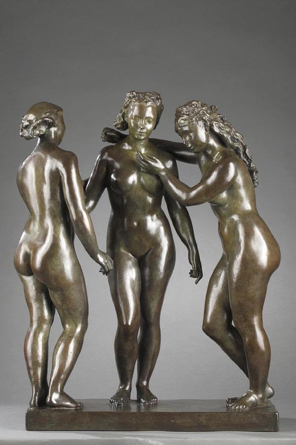 """Alfred Janniot (1889-1969), """"Les Trois Grâces"""", bronze à patine vert marron nuancé, fonte Susse, haut. 54 cm, sculptures - galerie Tourbillon, Paris"""