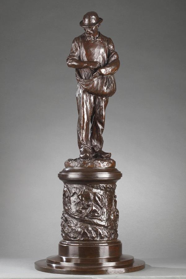 """Jules Dalou (1838-1902), """"Semeur sur piédestal"""", bronze à patine brun foncé, fonte Susse, haut. 78 cm, sculptures - galerie Tourbillon, Paris"""