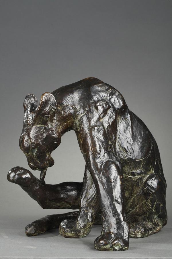 """Thierry van Ryswyck (1911-1958), """"Panthère se léchant la patte"""", bronze à patine brun vert nuancé, fonte Susse, haut. 24,5 cm, sculptures - galerie Tourbillon, Paris"""