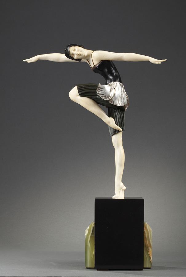 """Samuel Lipschitz (1880-1943), """"Danseuse"""", sculpture chryséléphantine, socle en marbre et onyx, haut. totale 43 cm, sculptures - galerie Tourbillon, Paris"""