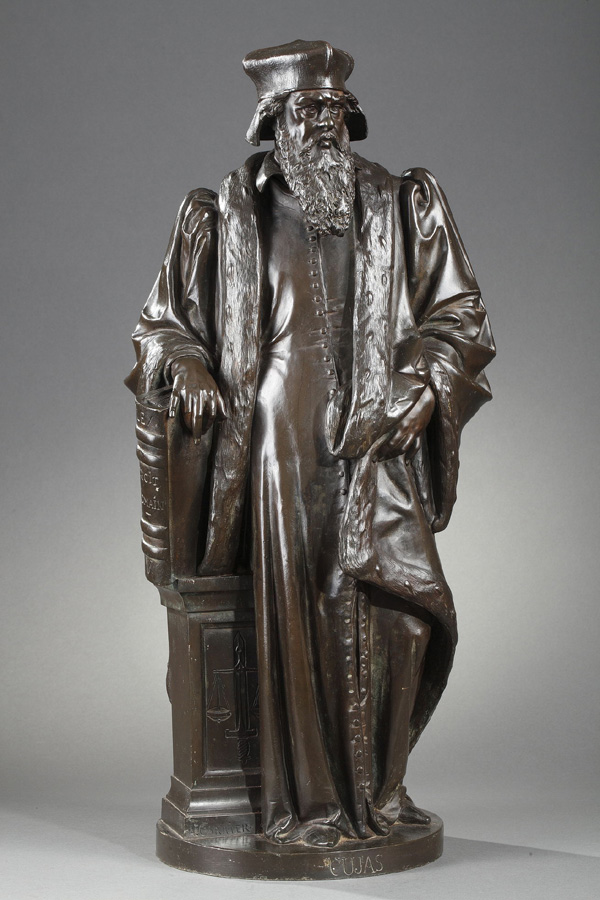 "Albert-Ernest Carrier-Belleuse (1824-1887), ""Cujas"", bronze à patine brun nuancé, haut. 62 cm. sculptures - galerie Tourbillon, Paris"