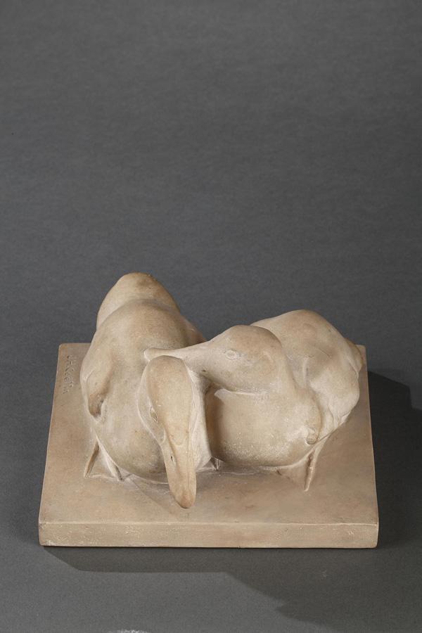 Josette Hébert-Coëffin (1906-1973), Canards, pierre, larg. 16,5 cm, sculptures - galerie Tourbillon, Paris